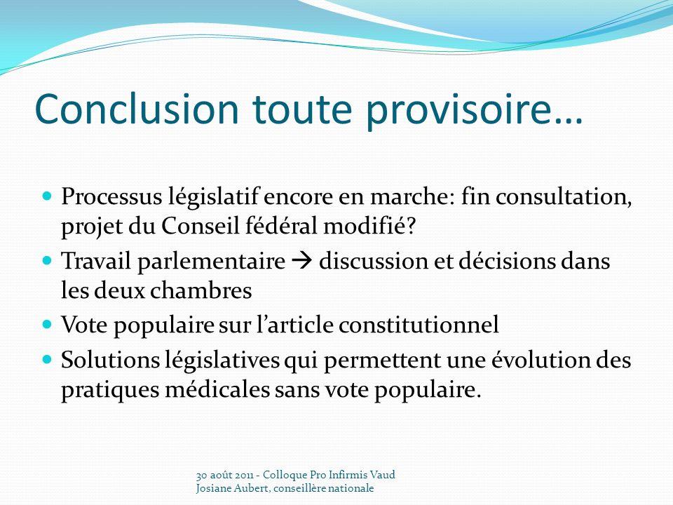 Conclusion toute provisoire… Processus législatif encore en marche: fin consultation, projet du Conseil fédéral modifié? Travail parlementaire discuss