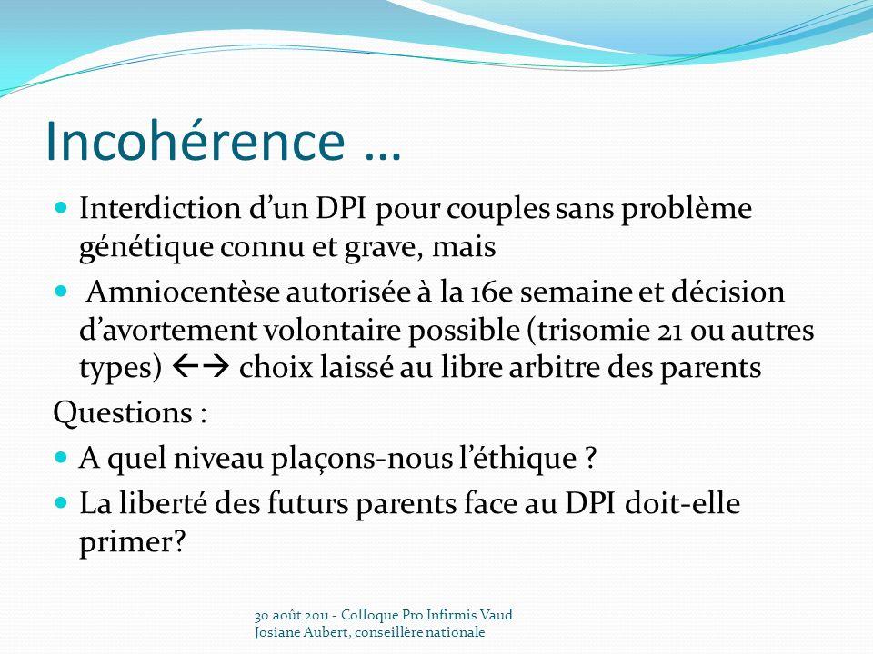 Incohérence … Interdiction dun DPI pour couples sans problème génétique connu et grave, mais Amniocentèse autorisée à la 16e semaine et décision davor