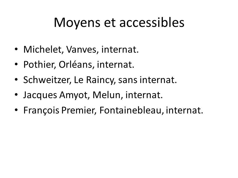 Moyens et accessibles Michelet, Vanves, internat. Pothier, Orléans, internat. Schweitzer, Le Raincy, sans internat. Jacques Amyot, Melun, internat. Fr