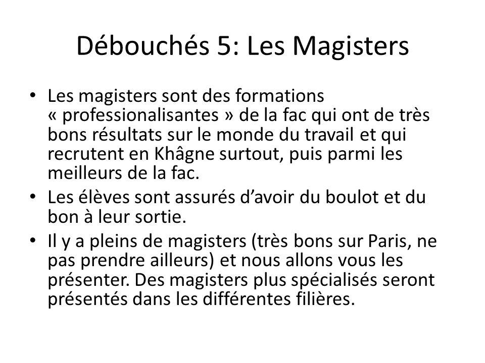 Débouchés 5: Les Magisters Les magisters sont des formations « professionalisantes » de la fac qui ont de très bons résultats sur le monde du travail