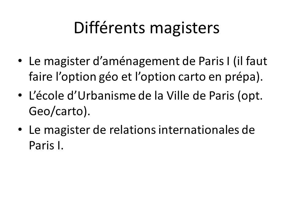 Différents magisters Le magister daménagement de Paris I (il faut faire loption géo et loption carto en prépa). Lécole dUrbanisme de la Ville de Paris