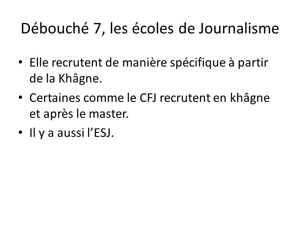 Débouché 7, les écoles de Journalisme Elle recrutent de manière spécifique à partir de la Khâgne. Certaines comme le CFJ recrutent en khâgne et après