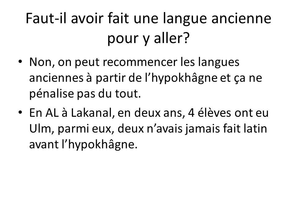 Faut-il avoir fait une langue ancienne pour y aller? Non, on peut recommencer les langues anciennes à partir de lhypokhâgne et ça ne pénalise pas du t