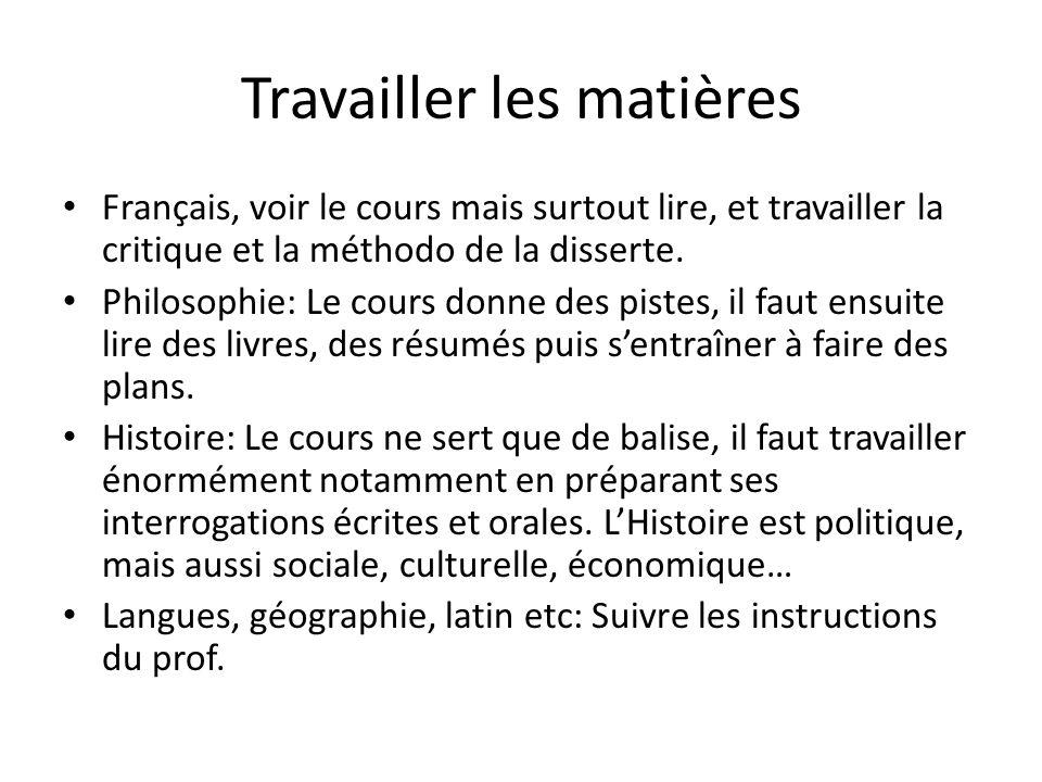 Travailler les matières Français, voir le cours mais surtout lire, et travailler la critique et la méthodo de la disserte. Philosophie: Le cours donne