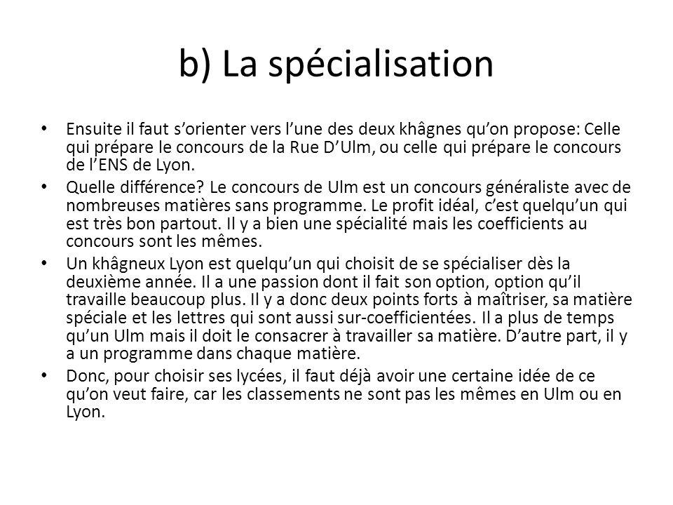 b) La spécialisation Ensuite il faut sorienter vers lune des deux khâgnes quon propose: Celle qui prépare le concours de la Rue DUlm, ou celle qui pré