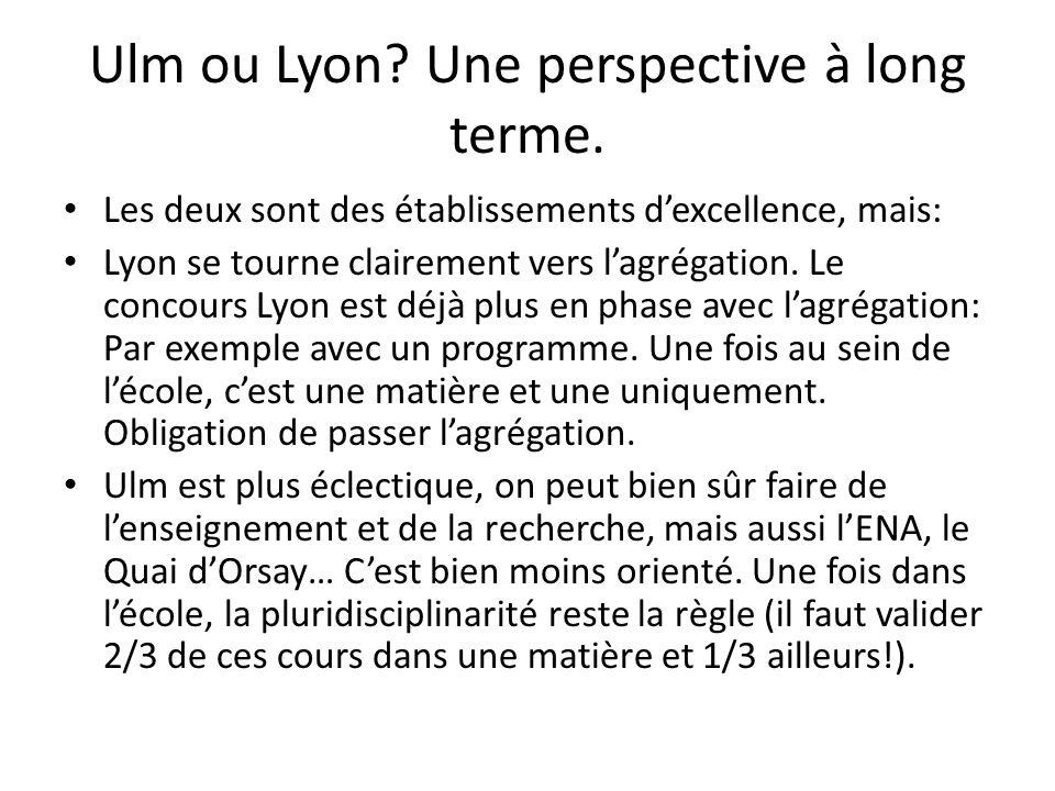 Ulm ou Lyon? Une perspective à long terme. Les deux sont des établissements dexcellence, mais: Lyon se tourne clairement vers lagrégation. Le concours