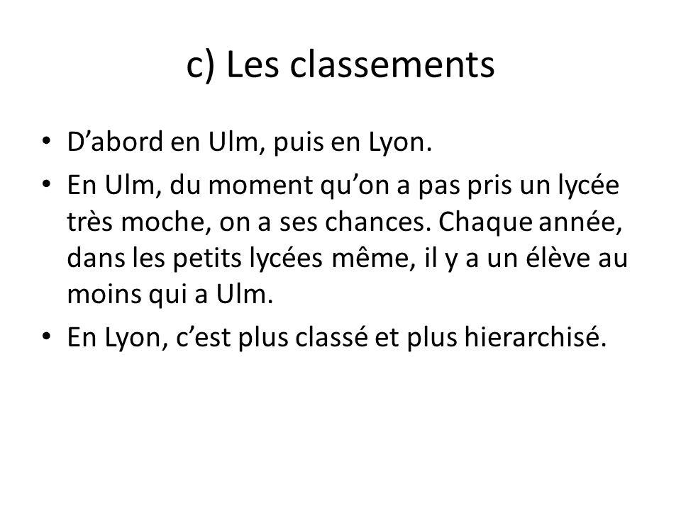 c) Les classements Dabord en Ulm, puis en Lyon. En Ulm, du moment quon a pas pris un lycée très moche, on a ses chances. Chaque année, dans les petits