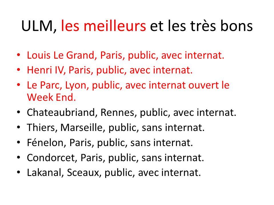 ULM, les meilleurs et les très bons Louis Le Grand, Paris, public, avec internat. Henri IV, Paris, public, avec internat. Le Parc, Lyon, public, avec