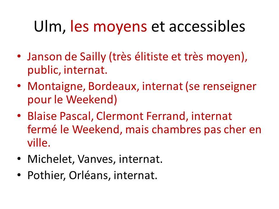 Ulm, les moyens et accessibles Janson de Sailly (très élitiste et très moyen), public, internat. Montaigne, Bordeaux, internat (se renseigner pour le