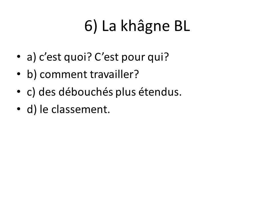 6) La khâgne BL a) cest quoi? Cest pour qui? b) comment travailler? c) des débouchés plus étendus. d) le classement.