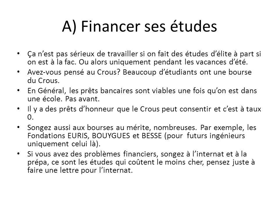 A) Financer ses études Ça nest pas sérieux de travailler si on fait des études délite à part si on est à la fac. Ou alors uniquement pendant les vacan