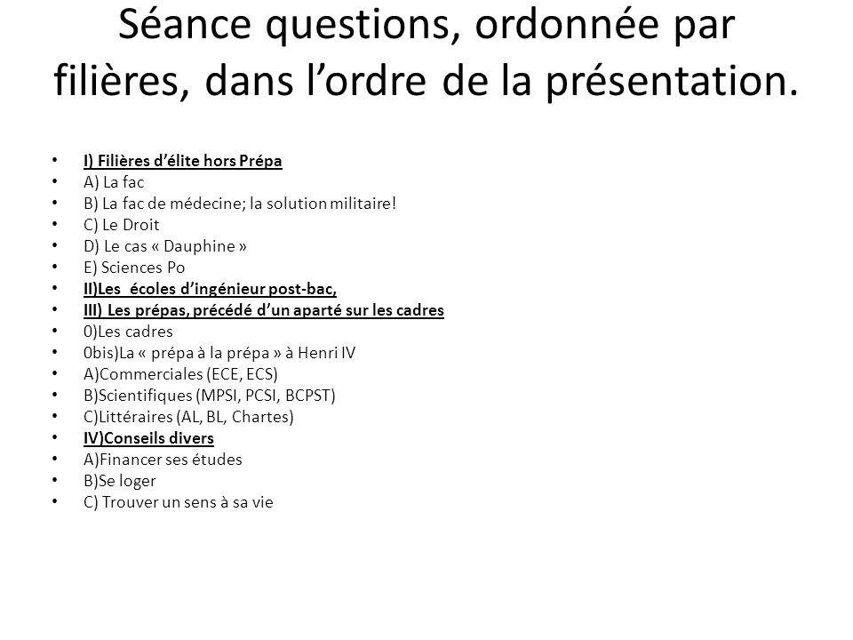 Séance questions, ordonnée par filières, dans lordre de la présentation. I) Filières délite hors Prépa A) La fac B) La fac de médecine; la solution mi