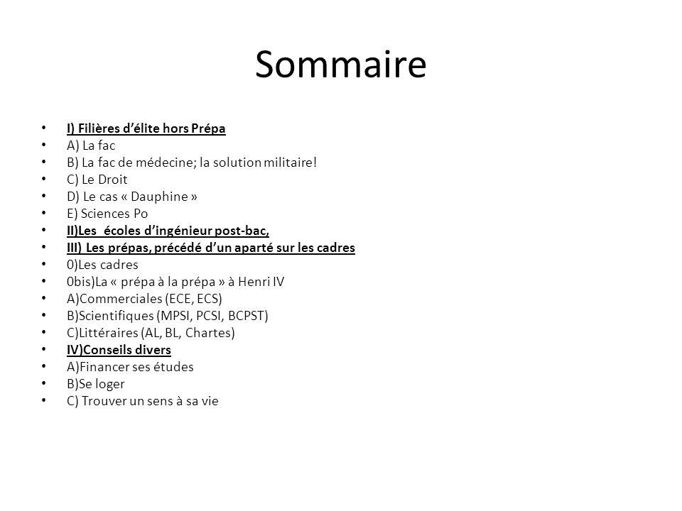 Sommaire I) Filières délite hors Prépa A) La fac B) La fac de médecine; la solution militaire! C) Le Droit D) Le cas « Dauphine » E) Sciences Po II)Le