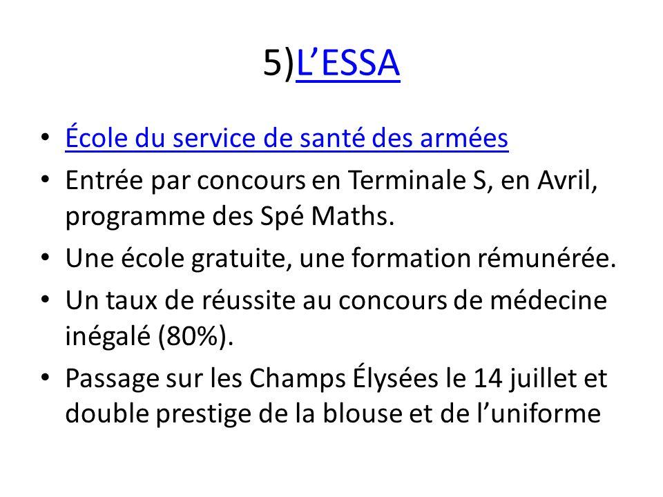 5)LESSALESSA École du service de santé des armées Entrée par concours en Terminale S, en Avril, programme des Spé Maths. Une école gratuite, une forma