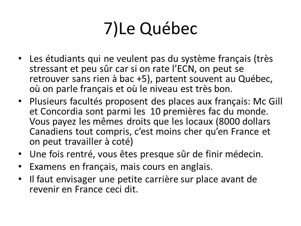 7)Le Québec Les étudiants qui ne veulent pas du système français (très stressant et peu sûr car si on rate lECN, on peut se retrouver sans rien à bac