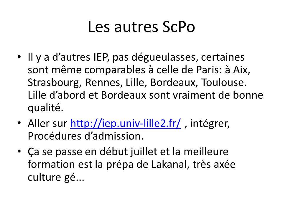 Les autres ScPo Il y a dautres IEP, pas dégueulasses, certaines sont même comparables à celle de Paris: à Aix, Strasbourg, Rennes, Lille, Bordeaux, To