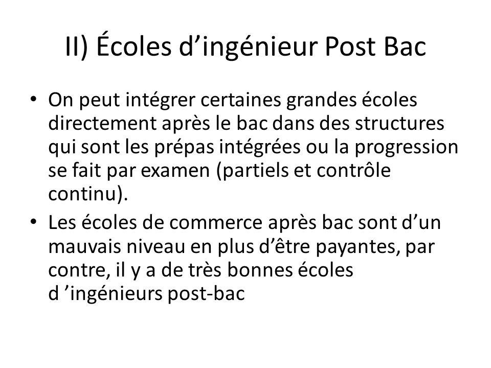 II) Écoles dingénieur Post Bac On peut intégrer certaines grandes écoles directement après le bac dans des structures qui sont les prépas intégrées ou