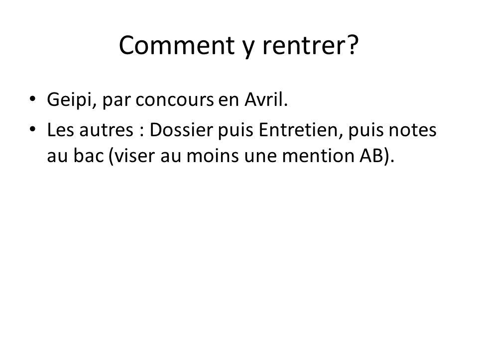 Comment y rentrer? Geipi, par concours en Avril. Les autres : Dossier puis Entretien, puis notes au bac (viser au moins une mention AB).