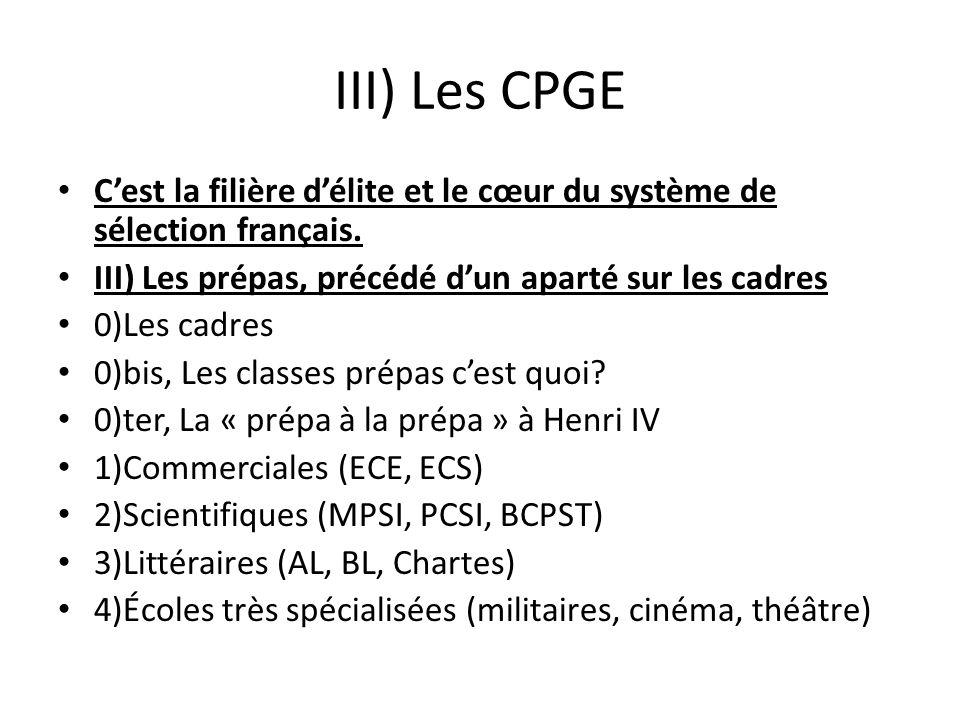 III) Les CPGE Cest la filière délite et le cœur du système de sélection français. III) Les prépas, précédé dun aparté sur les cadres 0)Les cadres 0)bi