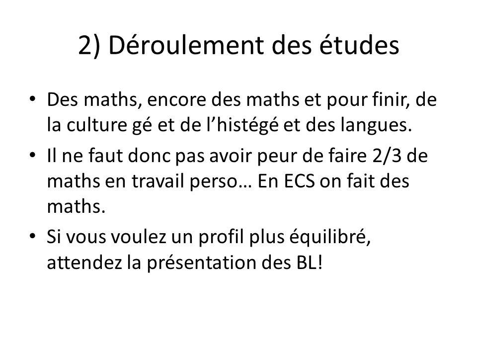 2) Déroulement des études Des maths, encore des maths et pour finir, de la culture gé et de lhistégé et des langues. Il ne faut donc pas avoir peur de