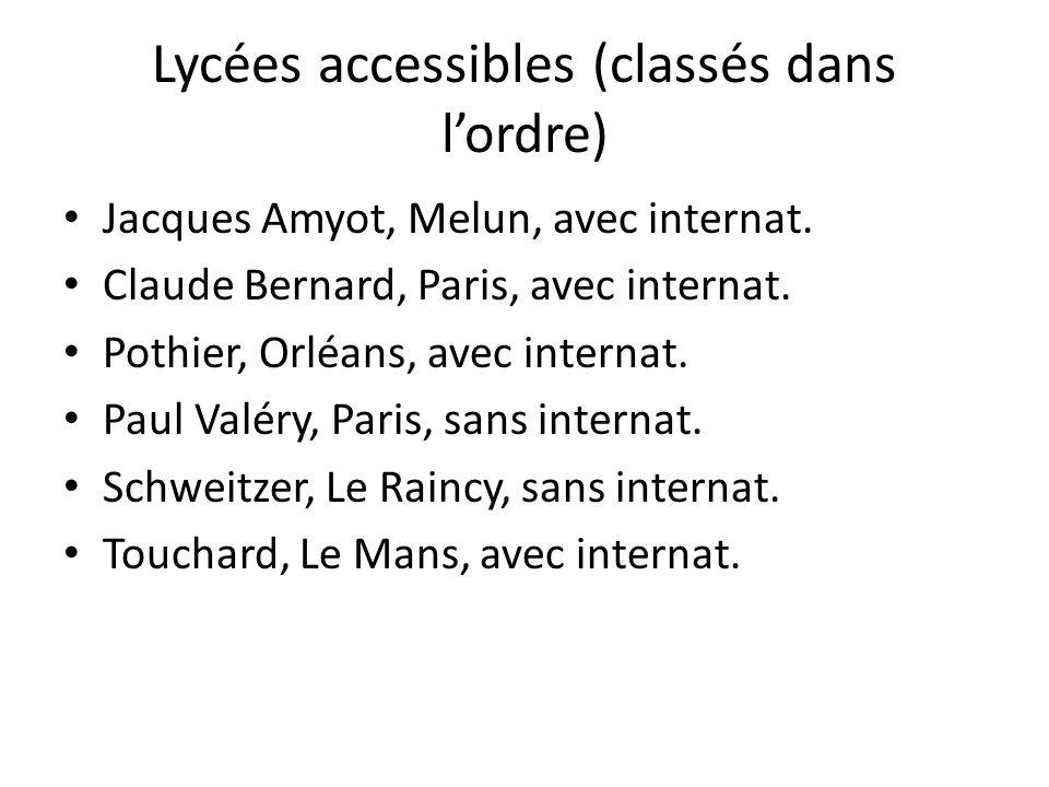Lycées accessibles (classés dans lordre) Jacques Amyot, Melun, avec internat. Claude Bernard, Paris, avec internat. Pothier, Orléans, avec internat. P