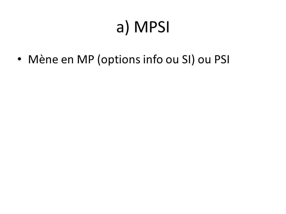 a) MPSI Mène en MP (options info ou SI) ou PSI