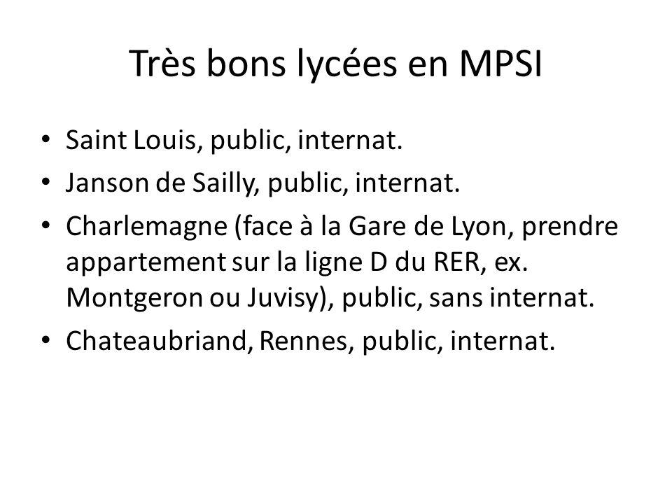 Très bons lycées en MPSI Saint Louis, public, internat. Janson de Sailly, public, internat. Charlemagne (face à la Gare de Lyon, prendre appartement s