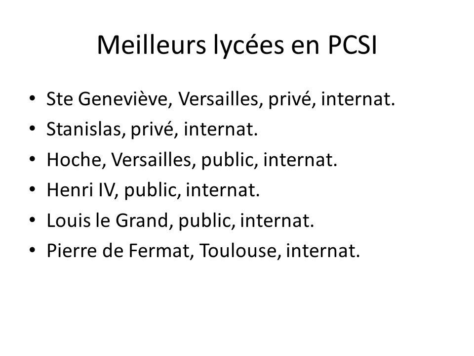 Meilleurs lycées en PCSI Ste Geneviève, Versailles, privé, internat. Stanislas, privé, internat. Hoche, Versailles, public, internat. Henri IV, public