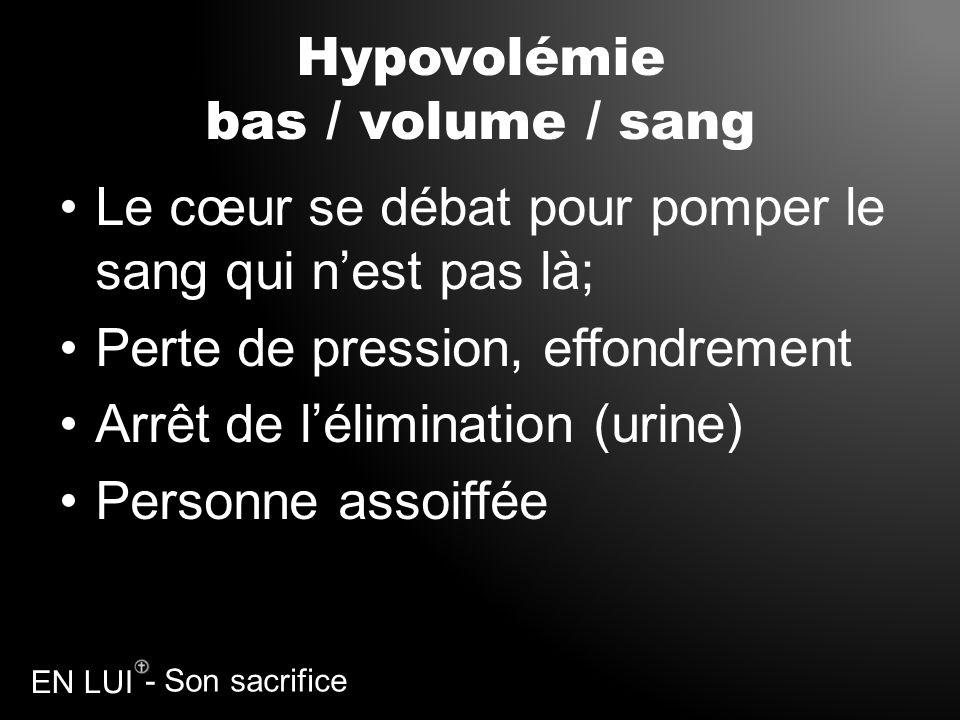 - Son sacrifice EN LUI Hypovolémie bas / volume / sang Le cœur se débat pour pomper le sang qui nest pas là; Perte de pression, effondrement Arrêt de