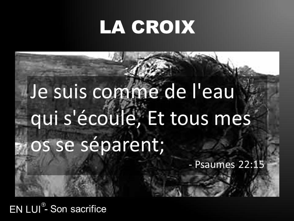 - Son sacrifice EN LUI LA CROIX Je suis comme de l'eau qui s'écoule, Et tous mes os se séparent; - Psaumes 22:15