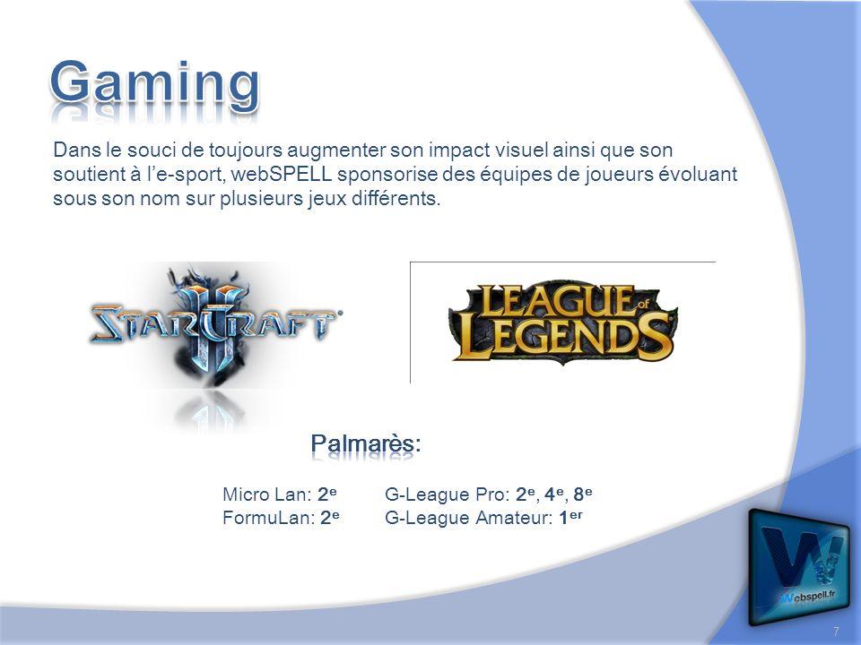 Dans le souci de toujours augmenter son impact visuel ainsi que son soutient à le-sport, webSPELL sponsorise des équipes de joueurs évoluant sous son nom sur plusieurs jeux différents.
