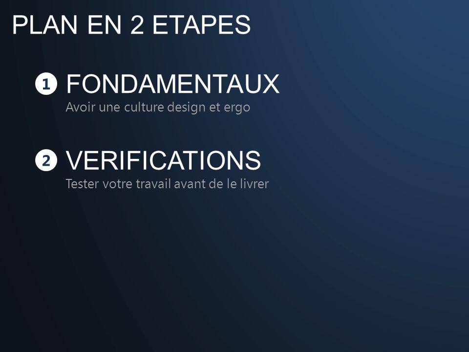PLAN EN 2 ETAPES 1 FONDAMENTAUX Avoir une culture design et ergo 2 VERIFICATIONS Tester votre travail avant de le livrer