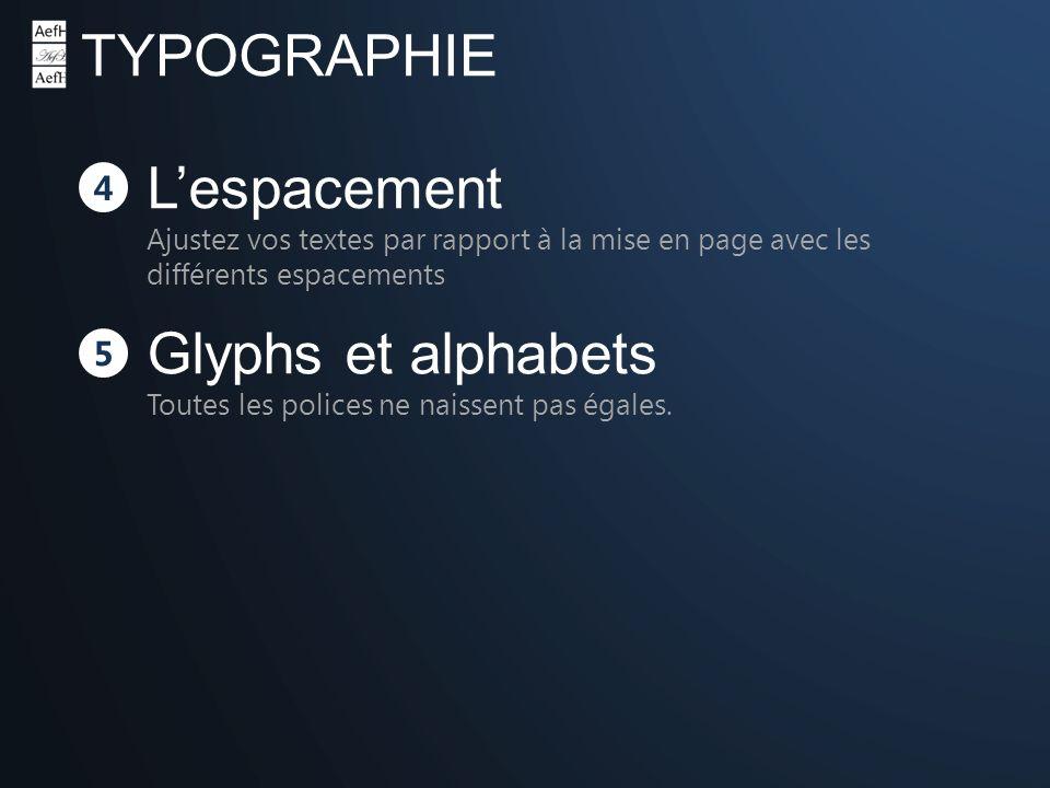 TYPOGRAPHIE 4 Lespacement Ajustez vos textes par rapport à la mise en page avec les différents espacements 5 Glyphs et alphabets Toutes les polices ne