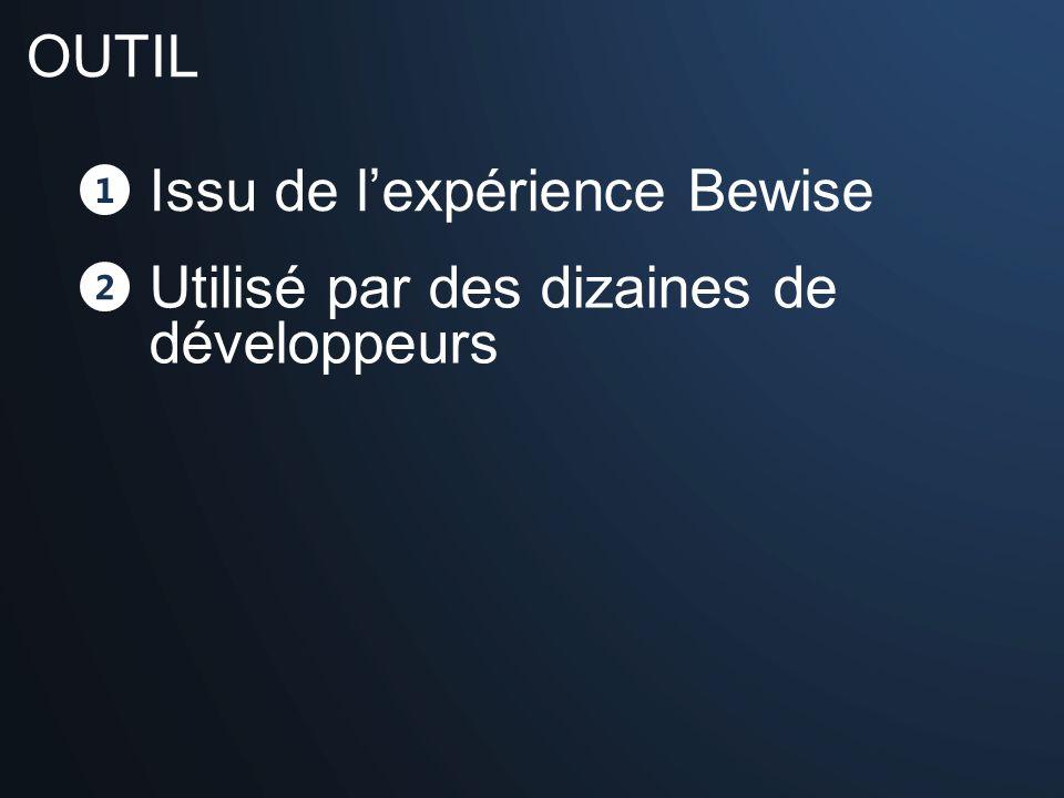 1 Issu de lexpérience Bewise 2 Utilisé par des dizaines de développeurs OUTIL
