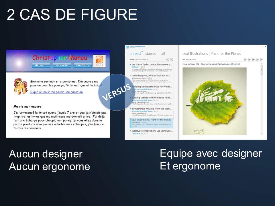 2 CAS DE FIGURE VERSUS Aucun designer Aucun ergonome Equipe avec designer Et ergonome