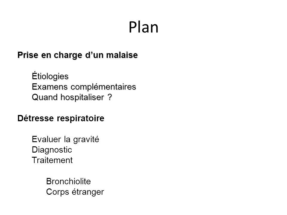 Plan Prise en charge dun malaise Étiologies Examens complémentaires Quand hospitaliser ? Détresse respiratoire Evaluer la gravité Diagnostic Traitemen