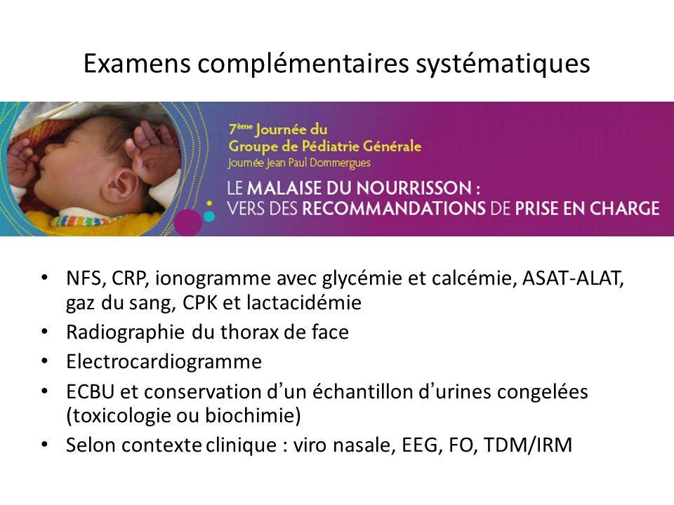 Examens complémentaires systématiques NFS, CRP, ionogramme avec glycémie et calcémie, ASAT-ALAT, gaz du sang, CPK et lactacidémie Radiographie du thor