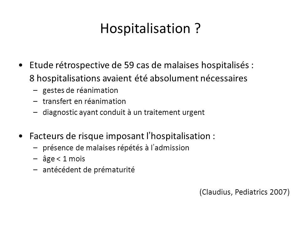 Etude rétrospective de 59 cas de malaises hospitalisés : 8 hospitalisations avaient été absolument nécessaires –gestes de réanimation –transfert en ré