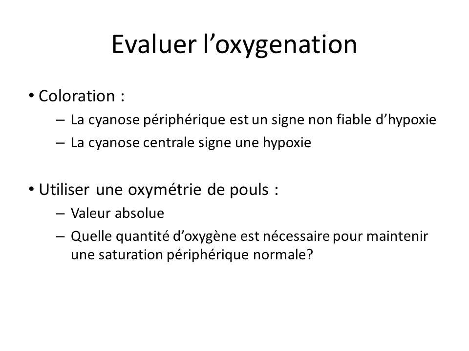 Evaluer loxygenation Coloration : – La cyanose périphérique est un signe non fiable dhypoxie – La cyanose centrale signe une hypoxie Utiliser une oxym