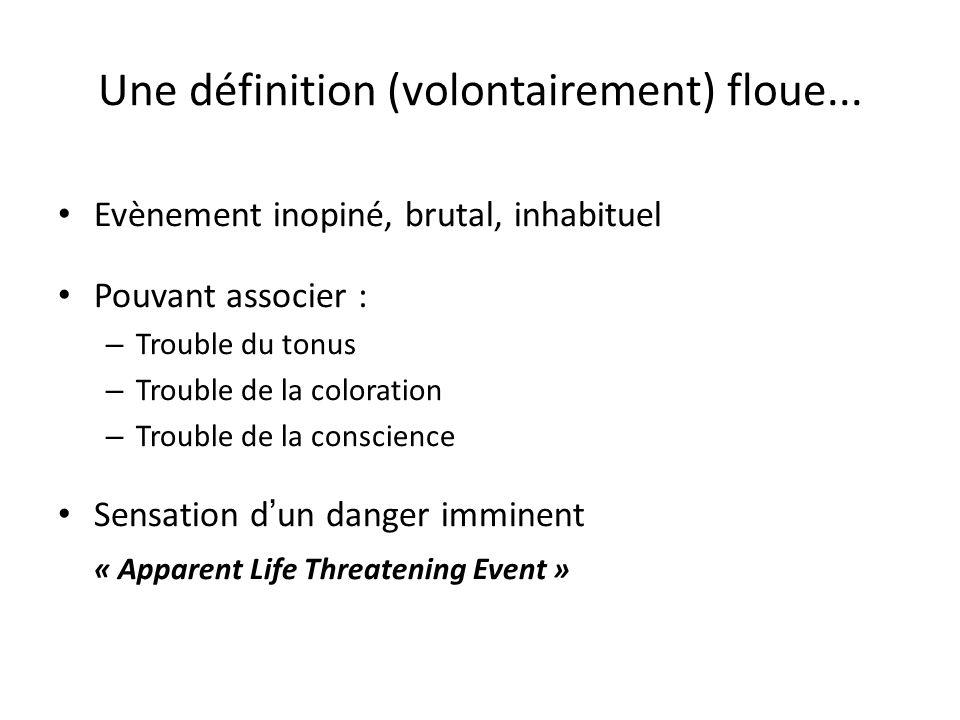 Une définition (volontairement) floue... Evènement inopiné, brutal, inhabituel Pouvant associer : – Trouble du tonus – Trouble de la coloration – Trou