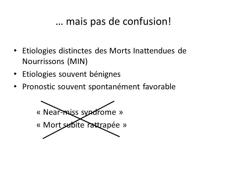 … mais pas de confusion! Etiologies distinctes des Morts Inattendues de Nourrissons (MIN) Etiologies souvent bénignes Pronostic souvent spontanément f