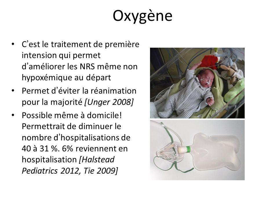 Oxygène C est le traitement de première intension qui permet d améliorer les NRS même non hypoxémique au départ Permet d éviter la réanimation pour la