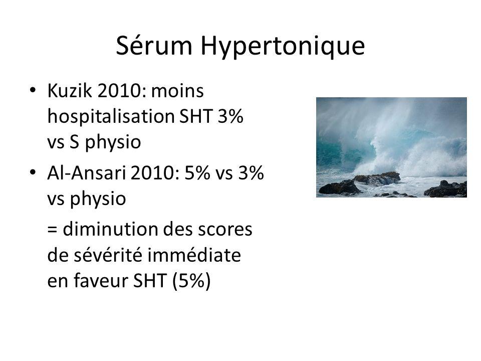 Sérum Hypertonique Kuzik 2010: moins hospitalisation SHT 3% vs S physio Al-Ansari 2010: 5% vs 3% vs physio = diminution des scores de sévérité immédia