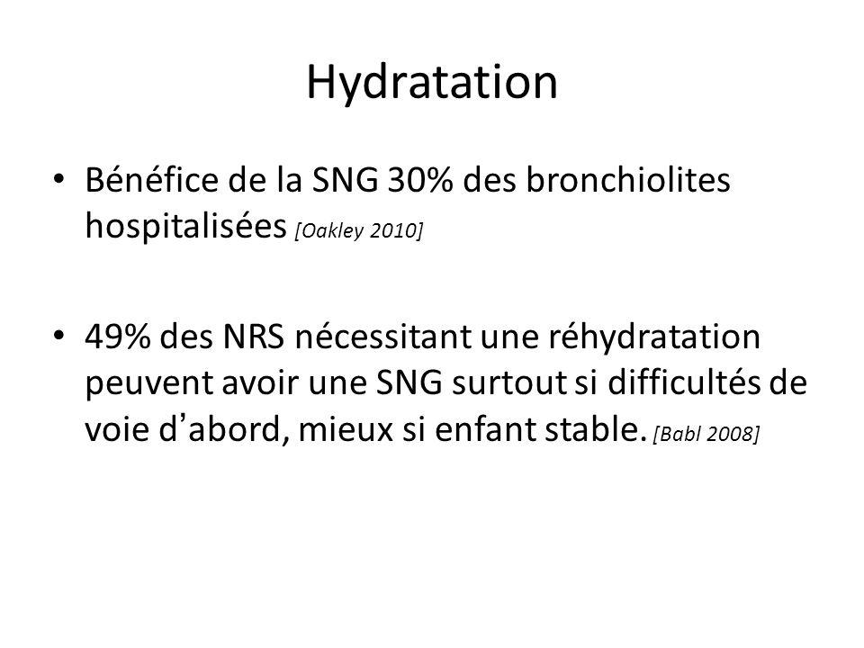 Hydratation Bénéfice de la SNG 30% des bronchiolites hospitalisées [Oakley 2010] 49% des NRS nécessitant une réhydratation peuvent avoir une SNG surto