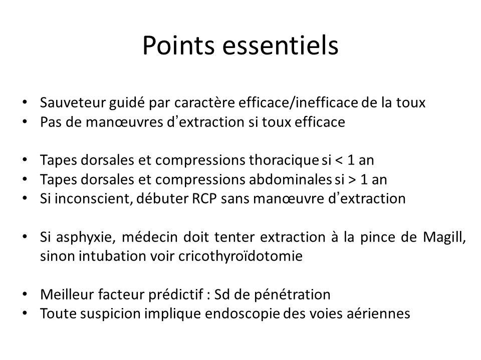 Sauveteur guidé par caractère efficace/inefficace de la toux Pas de manœuvres d extraction si toux efficace Tapes dorsales et compressions thoracique