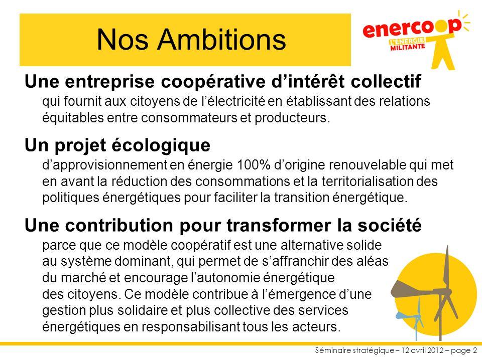 Séminaire stratégique – 12 avril 2012 – page 2 Une entreprise coopérative dintérêt collectif qui fournit aux citoyens de lélectricité en établissant des relations équitables entre consommateurs et producteurs.