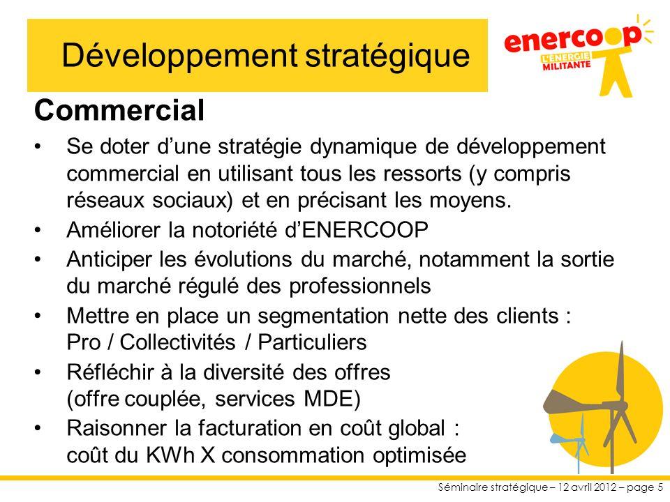 Séminaire stratégique – 12 avril 2012 – page 5 Commercial Se doter dune stratégie dynamique de développement commercial en utilisant tous les ressorts (y compris réseaux sociaux) et en précisant les moyens.