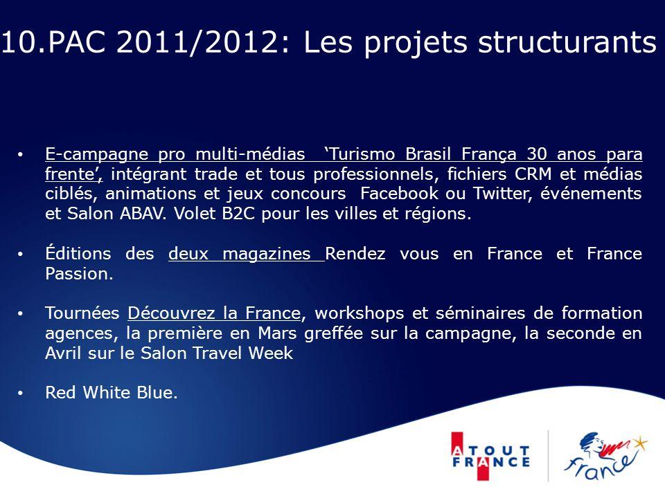 10.PAC 2011/2012: Les projets structurants E-campagne pro multi-médias Turismo Brasil França 30 anos para frente, intégrant trade et tous professionne