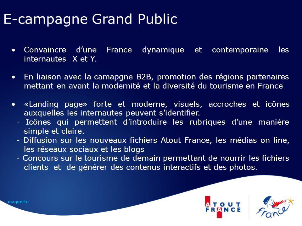 E-campagne Grand Public Convaincre dune France dynamique et contemporaine les internautes X et Y. En liaison avec la camapgne B2B, promotion des régio