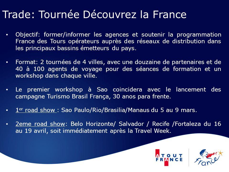 Trade: Tournée Découvrez la France Objectif: former/informer les agences et soutenir la programmation France des Tours opérateurs auprès des réseaux de distribution dans les principaux bassins émetteurs du pays.
